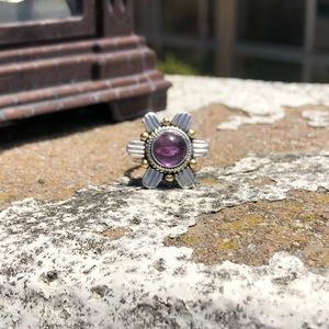 Jewelry - Amethyst Cabochon Two-Tone Sterling Silver Ring